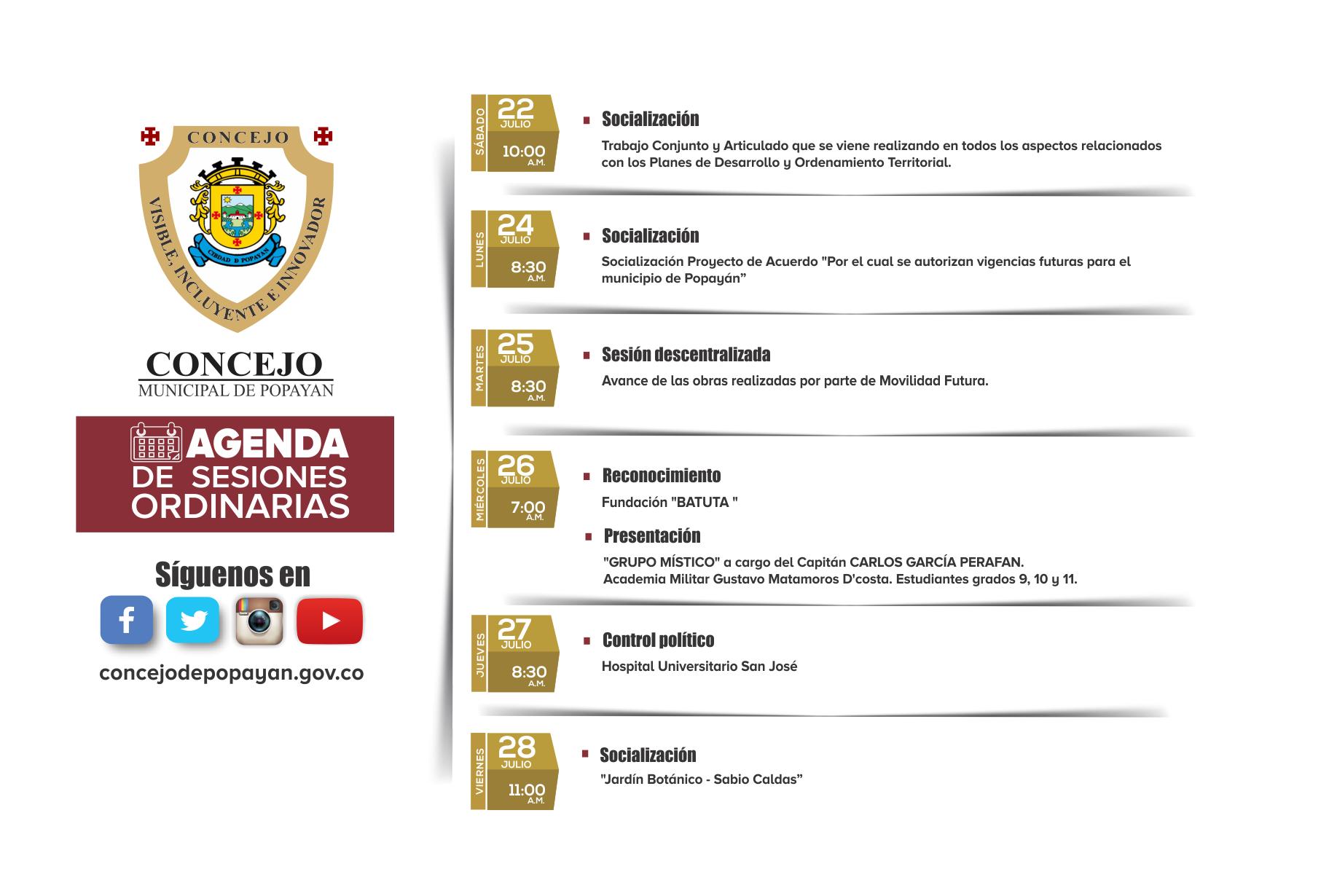 Agenda del Concejo de Popayán